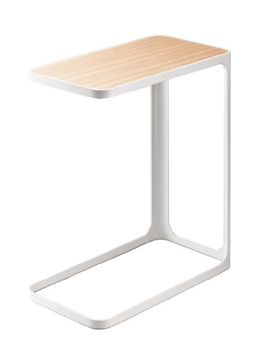 White Metal Compact Side Table with Wood-Look Top