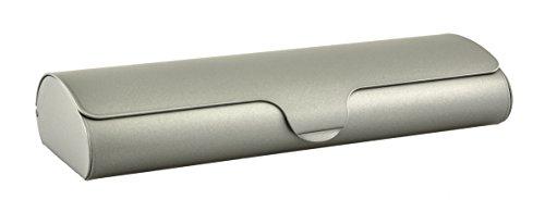 Flaches Brillenetui mit Aluminium-Außenschale und Schnappverschluß in verschiedenen Farben und Größen (Metallic-Beige, klein)
