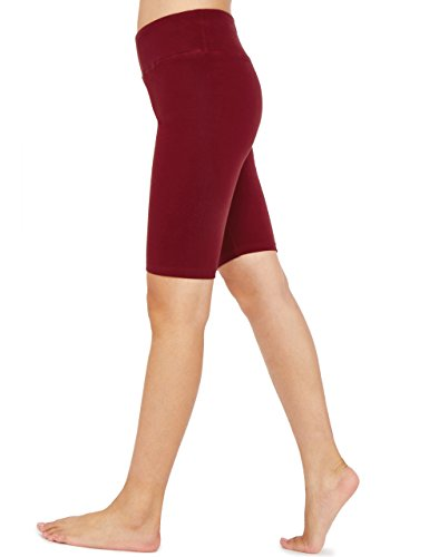 Weintee Women's Cotton Spandex Yoga Shorts Workout Gym Shorts XL Burgundy