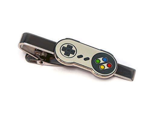 SNES Super Nintendo Tie Clip, NES Nintendo Controller Cufflinks, Retro Gaming Jewelry, SNES Cuff Links, Super Mario Brothers Legend of Zelda Metroid Wedding Groomsman Groomsmen Gifts (Nes Tie)