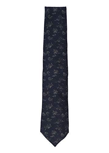 Isaia Mens Black Wool Silk Blend Floral Pattern Classic Tie~RTL$275