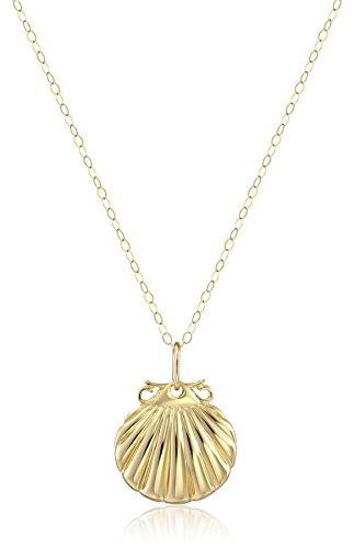 14k Yellow Gold Small Sea Shell Pendant Necklace, 18