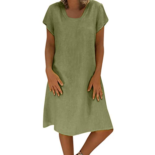FEDULK Womens Solid Swing Dress Round Neck Short Sleeve Summer Cotton Linen Plus Size T-Shirt Casual Dress(Green, Large)