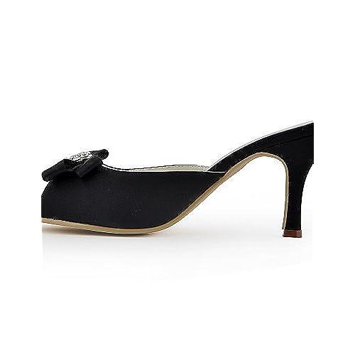 Ggx/femme Chaussures Soie Stiletto Talon talons/Peep Toe talons Mariage/fête & Soir/robe Noir
