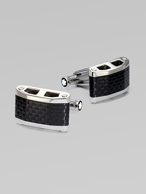 Montblanc Men's Black Carbon and Stainless Steel Contemporary Collection Cuff Links 104730
