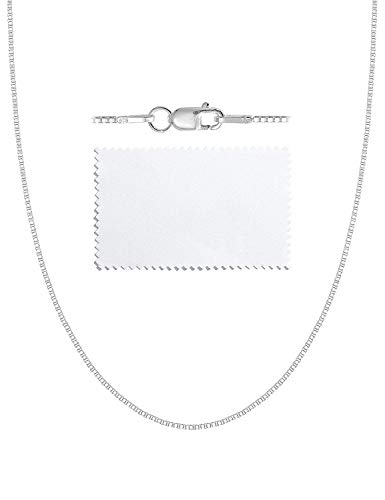 ASHINE Sterling Silver Necklace Chain 0.8mm Box Chain Lobster Clasp 19 Inches