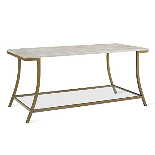 Novogratz Cecilia Coffee Table, Soft Brass, Faux Marble - Brass And Glass Coffee Table