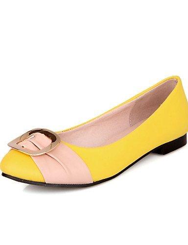 Giallo Punta Yellow Corallo Rosa arrotondata Blu Ballerine Finta Casual ShangYi Donna Nero pelle Piatto Scarpe wBCq64