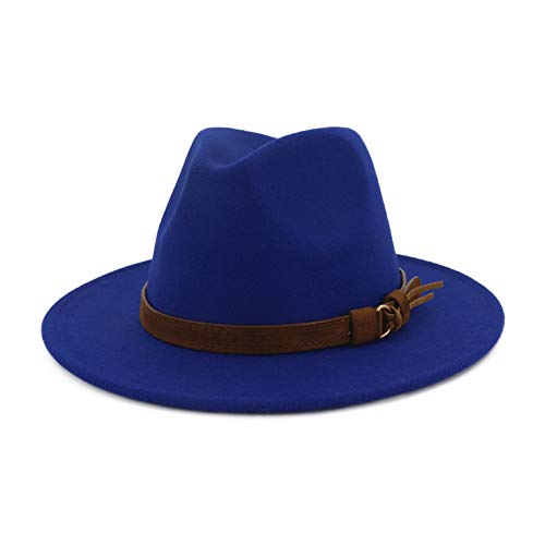- Lisianthus Men & Women Vintage Wide Brim Fedora Hat with Belt Buckle Royal Blue 56-58cm
