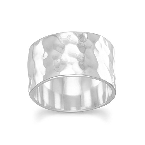- Band Ring Hammered Sterling Silver 11mm Wide Mens or Womens, 10