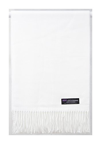 2 PLY 100% Cashmere Scarf Elegant Collection Made in Scotland Wool Solid Plaid (Snow White Solid) (Scarf White Wool)