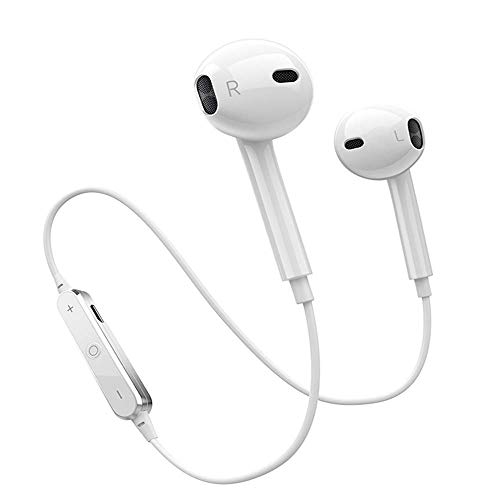 Bluetooth Headphones In Ear Wireless Earbuds 4.2 Sweat proof Stereo Bluetooth Earphones for Sports With Mic,Applicable to all mobile phones{White}