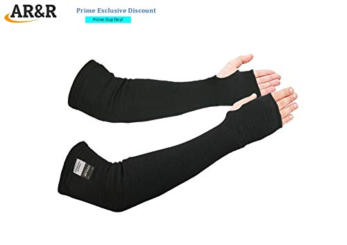 - Kevlar Arm Sleeves Cut/Knife/Scratch/Heat Resistant 18 inch Long Elbow Cover Level 4 EN 388 Tested Glass/Metal Cutting,Grinding,Welding UV Protection Lightweight/Washable Sleeve with ThumbHole) Black
