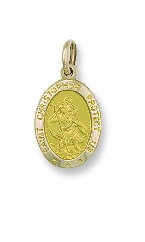 Jaune or Saint Christophe-Pendentif ovale