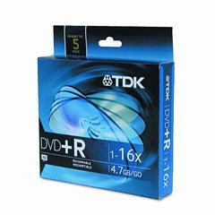 Tdk 16x Dvd+r Media - 4.7gb - 120mm Standard - 5 Pack Slim Jewel Case