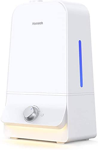 Homech 6L Cool Mist Humidifiers Quiet Ultrasonic Humidifier 100 Hours, Easy to Clean, for Nursery Babies Room Large bedroom Living Guitar Room 360 Nozzle ,Tank-Removal and Waterless Auto Shut-Off