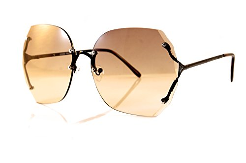 A106 Glasses (FBL Oversize Rimless Diamond Cutting Ocean Color Sunglasses A107 (Black/ Brown GR))