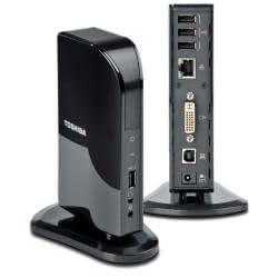 Toshiba Dynadock V10 - USB Mini Port Replicator (DVI) - Base (AC 100-260V / DC 5V/4A, 75,4 x 157,7 x 34 mm, Windows XP (32bit) w/ SP2/SP3 Windows Vista (32bit & 64bit) w/ SP1 Windows 7 (32bit & 64bit))