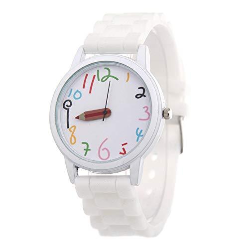 Niños Reloj Digital Chica, Estudiante De Dibujos Animados De Silicona Lápiz Puntero Reloj para Las Fuentes del Estudiante Blanco: Amazon.es: Relojes