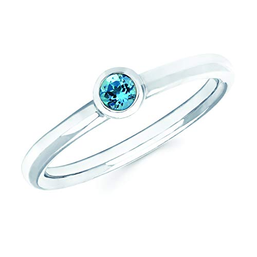 14K White Gold Round Genuine Blue Topaz December Birthstone Bezel-Set Stackable Solitaire Ring, Size 7