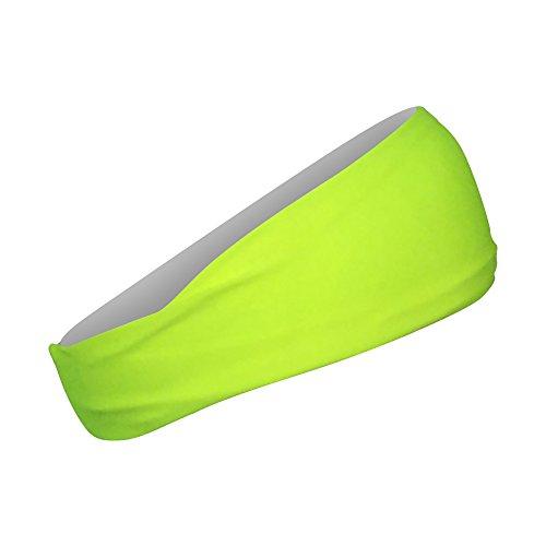 Cooling Headbands Moisture Wicking Womens Sweatband & Sports Headband   Workouts Cardio Running Yoga (Construction Neon Yellow) by Bani Bands (Image #1)