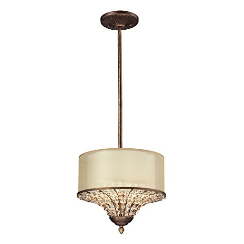 Spanish Ceiling Lighting - Elk Lighting 11700/3 Crystal Spring Collection 3 Light Pendant, Spanish Bronze