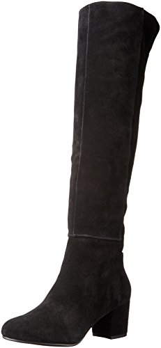 Steve Madden Women's Hansil Harness Boot, Black Suede, 8 M US