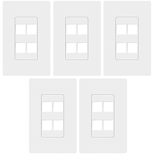 Gang Single Keystone 4 Port - TOPGREENER 4 Port RJ45 Keystone Screwless Wall Plate, Cat5 Cat6 Jack Module Compatible, 1-Gang, Polycarbonate Thermoplastic, White (5 Pack) SI8874-5PCS