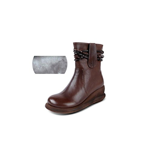 velvet with Soft Leather Genuine bottom Retro Short Slope Boots BROWN 36 Handmade Plus Woman's qfw1IERW
