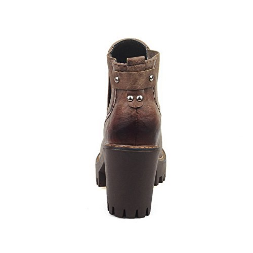 Allhqfashion Women's Soft Material Closed Round Toe Solid Low-top High-Heels Boots Brown vLNg5