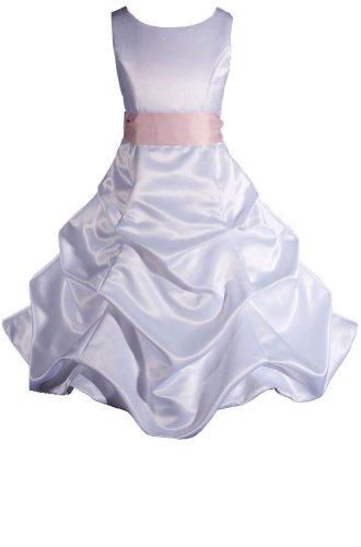 AMJ Dresses Inc Little Girls White/pink Flower Girl Wedding Dress Size 6