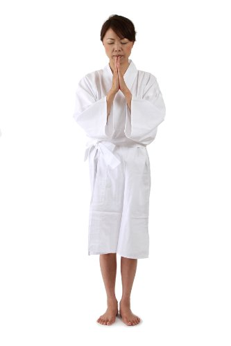 滝行用 着用白衣(無地タイプ) 男女兼用 様々な修行に使用できます【お遍路用品/巡礼用品】 (L) B008ANTGUEL