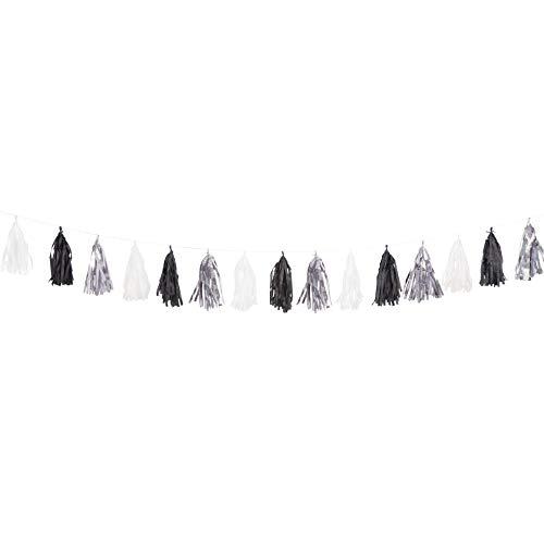 9ft Tissue Paper Black, White, & Silver Tassel Garland -