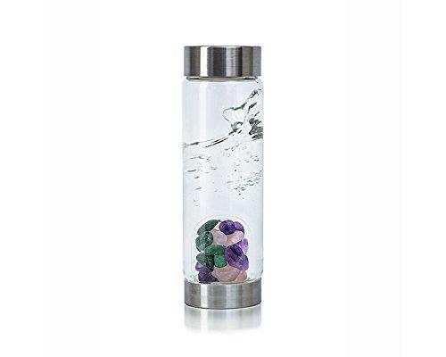 Beauty VitaJuwel Gemstone Water Bottle with Rose Quartz, Aventurine & Amethyst by Zinzeudo