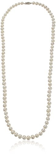 Sterling Silver White Freshwater Cultured A Quality Pearl Necklace (7.5-8mm), 30