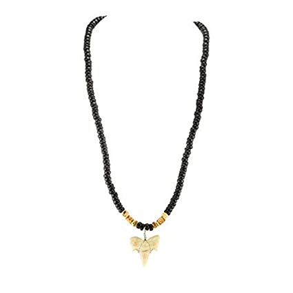 Shark Teeth Genuine Shark Tooth Necklace NEW Brown Glass Beads Black Cord