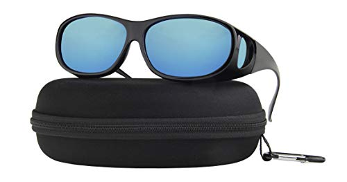 Fit Over Sunglasses Polarized Lens Case Included Wear Over Prescription Eyeglasses 100% UV Protection Fitovers Men and Women Blue Mirror Lens