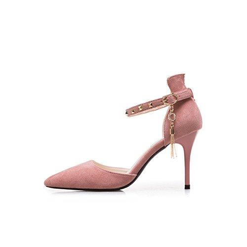 JUWOJIA Mujer Tacones Altos Sandalias De Tacón Fino De Verano Decoración De Metal del Remache Zapatos De Tacón Sandalias Señoras Parte Zapatos Plus Rosa
