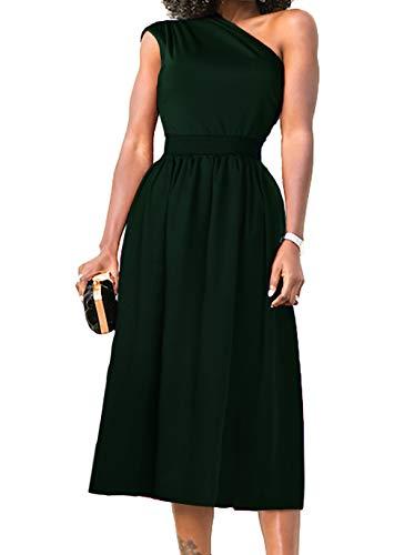 (Nashion Womens One Shoulder Dress Formal Evening Elegant Sleeveless Midi Dresses with Pockets,Dark Green,M)