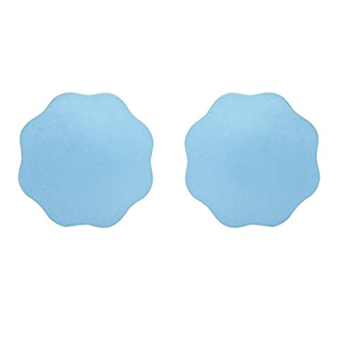 Willsa Multi-shaped Reusable Adhesive Silicone Nipple Cover Breast Pads (Petal Style, Blue) - Underwired Three Quarter Cup Bra