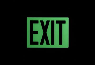"""Safe Glow Photoluminescent Exit Sign, """"EXIT"""", 12-19/64"""" Length x 9-1/2"""" Width x 1/4 """" Height, Wall Mount (Pack of 1)"""