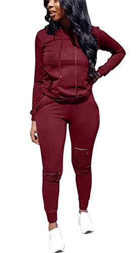 Plus Size Tracksuit - Women Sexy Long Sleeve Pullover Hoodie Sport Fitness Bodycon Two Piece Outfits