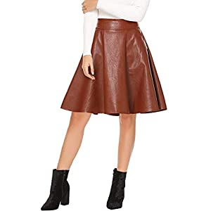 135b885a1c46c9 Beluring Womens Pleated Skater Faux Leather Skirt with Pockets