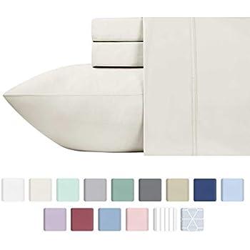 California Design Den 600 Thread Count 100% Cotton Sheets - Ivory Long-Staple Cotton King Sheets, Fits Mattress Upto 18'' Deep Pocket, Sateen Weave, Soft Cotton Bed Sheets Set