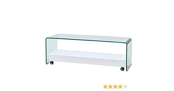 DECORARTE - Mueble Auxiliar - Mesa TV Cristal/Blanco: Amazon.es: Hogar