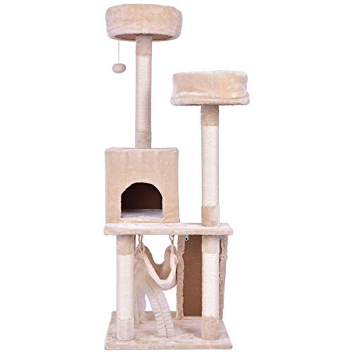 (USA_Best_Seller Beige Tower Condo Bed Scratch Post Kitten Cat Kitty Pet House Tower Soft Warm Sleeping Room Area Rest Relax Indoor Outdoor )