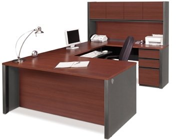 Bestar U Shaped Desk W/Hutch Executive Computer Desk 71.3