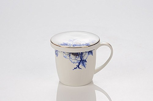 Porlien Elegance Collection Blue Floral Porcelain Coffee Mug with Lid, Perfect for Everyday Coffee,Tea, Hot Cocoa & Holiday Gifts for Friends (350 ML) (Floral Collection Blue Mug)