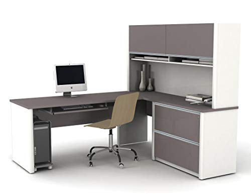 Bestar Connexion L-Shaped Workstation Kit Including Assembled Oversized Pedestal, Slate/Sandstone