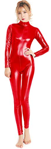 (speerise Womens Shiny Metallic Catsuit Long Sleeve Unitard Bodysuit, Red,)
